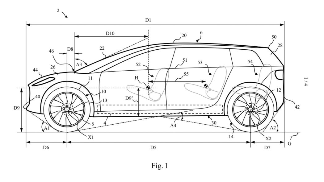 Dyson EV's general shape revealed in patent drawings