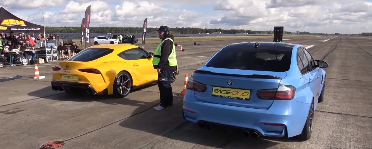 Big Turbo 2020 Toyota Supra Drag Races Tuned BMW M3, Fight Is Brutal