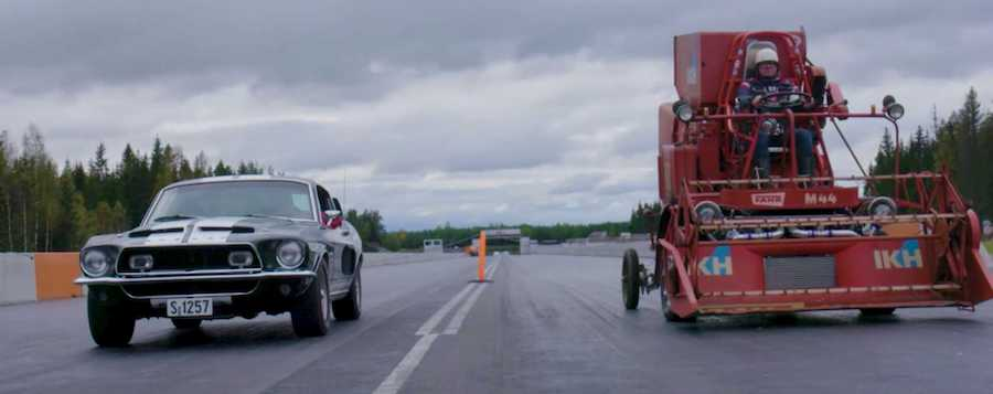 Classic Shelby GT 350 Duels Combine Harvester In Weirdest Drag Race Ever