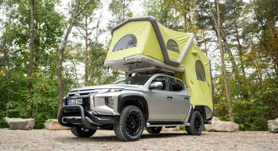 Mitsubishi Shows Of L200 With Pull-Out Kitchen And Inflatable Tent