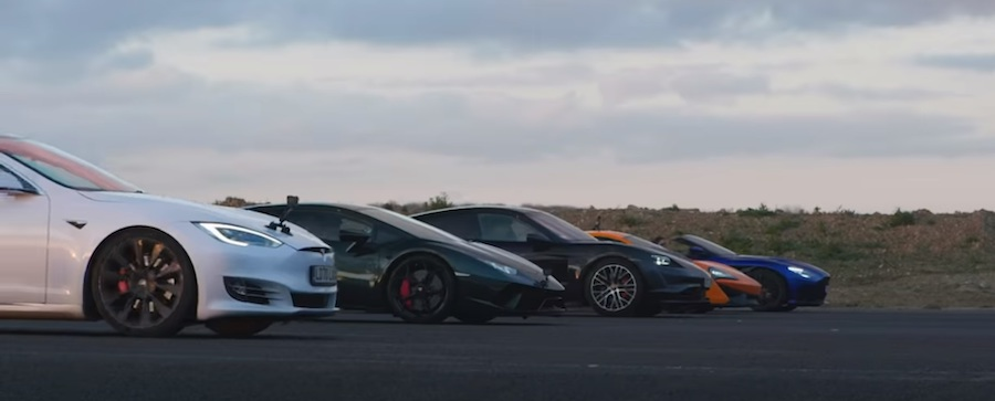Huracan Faces Taycan, Model S, DBS, 540C In A Five-Way Drag Race